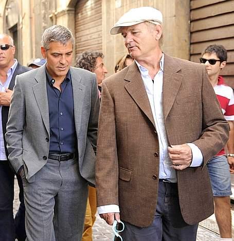 George Clooney e Bill Murray a L Aquila