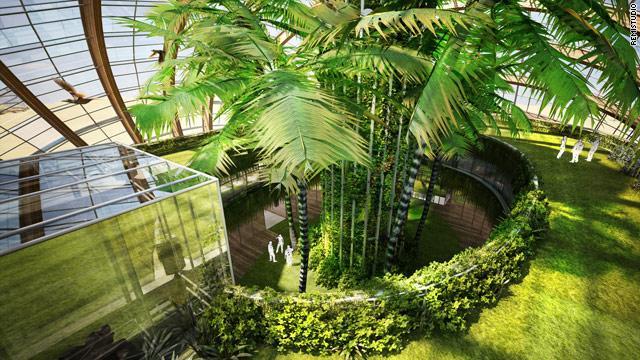 """L'interno dell'""""Arca"""", progettata dall'architetto russo Alexander Remizov. Si tratta di una struttura totalmente ecocompatibile nella quale possono risiedere 10mila persone. Tutta l'energia necessaria al mantenimento dell'Arca, in grado anche di galleggiare sull'acqua, deriva dallo sfruttamento di vento e sole."""