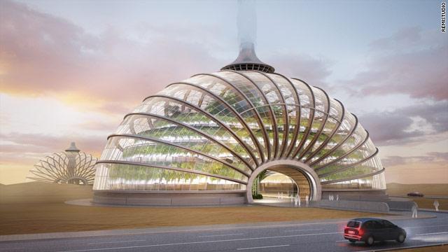 La struttura esterna dell'Arca, progettata dall'architetto russo Alexander Remizov. Si tratta di una struttura totalmente ecocompatibile nella quale possono risiedere 10mila persone. Tutta l'energia necessaria al mantenimento dell'Arca, in grado anche di galleggiare sull'acqua, deriva dallo sfruttamento di vento e sole.