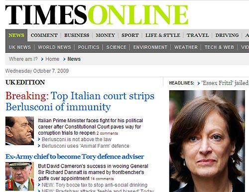 «The Times» (Gran Bretagna): «La massima corte italiana toglie l'immunità a Berlusconi. Il premier italiano lotta per la sua carriera»