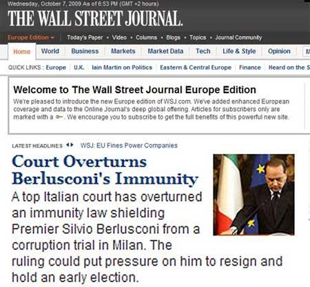 «Wall Street Journal» (Stati Uniti): «La Corte annulla l'immunità di Berlusconi. La sentenza potrebbe mettergli pressione per dare le dimissioni e aprire a elezioni anticipate»