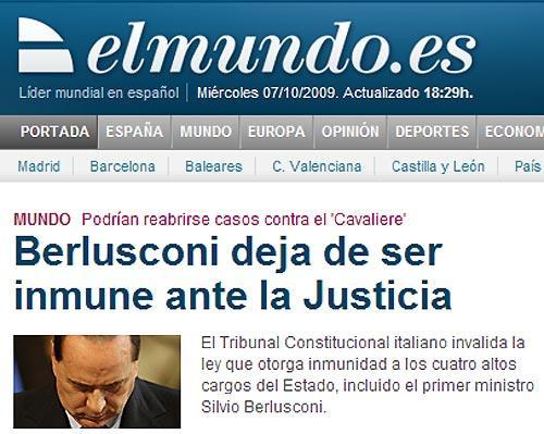 «El mundo» (Spagna): «Berlusconi smette di essere immune davanti alla giustizia. I 15 giudici della Corte costituzionale invalidano la legge che dava l'immunità alle quattro massime cariche dello Stato»