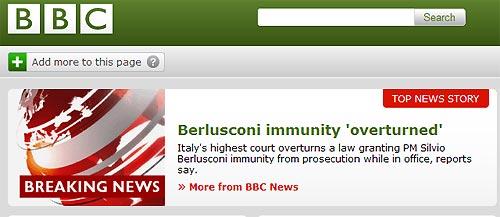 «Bbc» (Gran Bretagna): «Bocciata la legge sull'immunità di Berlusconi. Gli aveva evitato diversi casi giudiziari. In uno doveva affrontare accuse di corruzione»