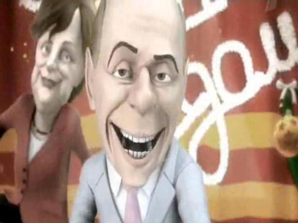 Il cartoon è andato in onda durante un programma dedicato al Capodanno sul primo canale russo, Channel One. Nella parodia Silvio Berlusconi è impegnato a interpretare una canzone attorniato da donne compiacenti e si intrattiene in limousine con Angela Merkel, Hillary Clinton e Yulia Timoshenko.