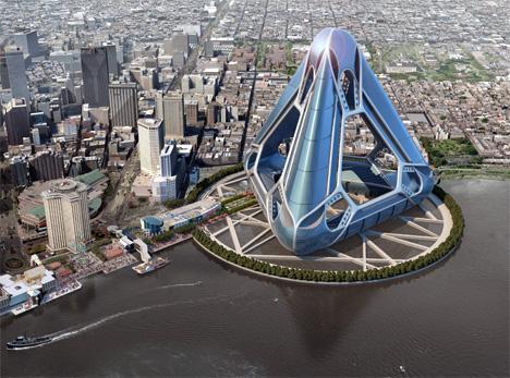 Le immagini del progetto di Noah. Ovvero del New Orleans Arcology Habitat: rifugio galleggiante  anti-uragani che, se posta lungo il Mississippi, potrebbe salvare 40 mila persone